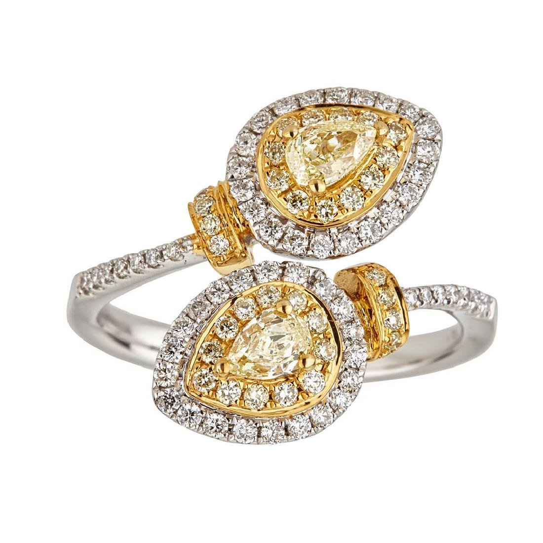 1.09 ctw Yellow and White Diamond Ring - 18KT White and