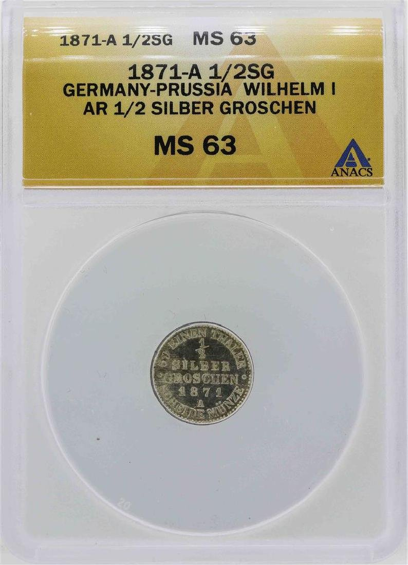 1871-A Germany-Prussia 1/2 Silber Groschen Coin ANACS