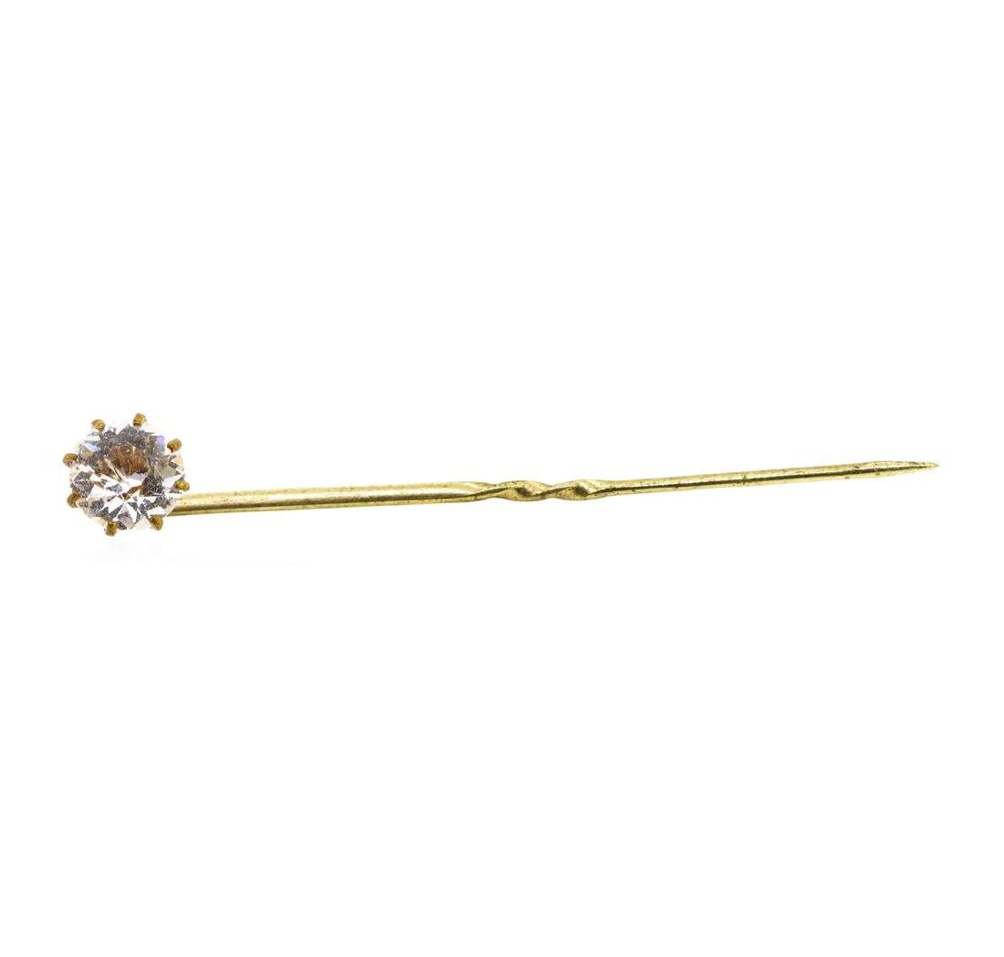 White Crystal Stick Pin - Yellow Gold Plated
