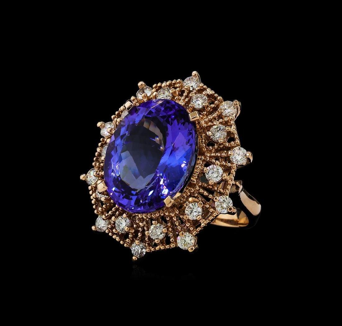15.76 ctw Tanzanite and Diamond Ring - 14KT Rose Gold