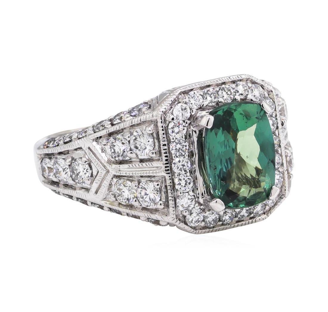 1.95 ctw Alexandrite And Diamond Ring - 14KT White Gold