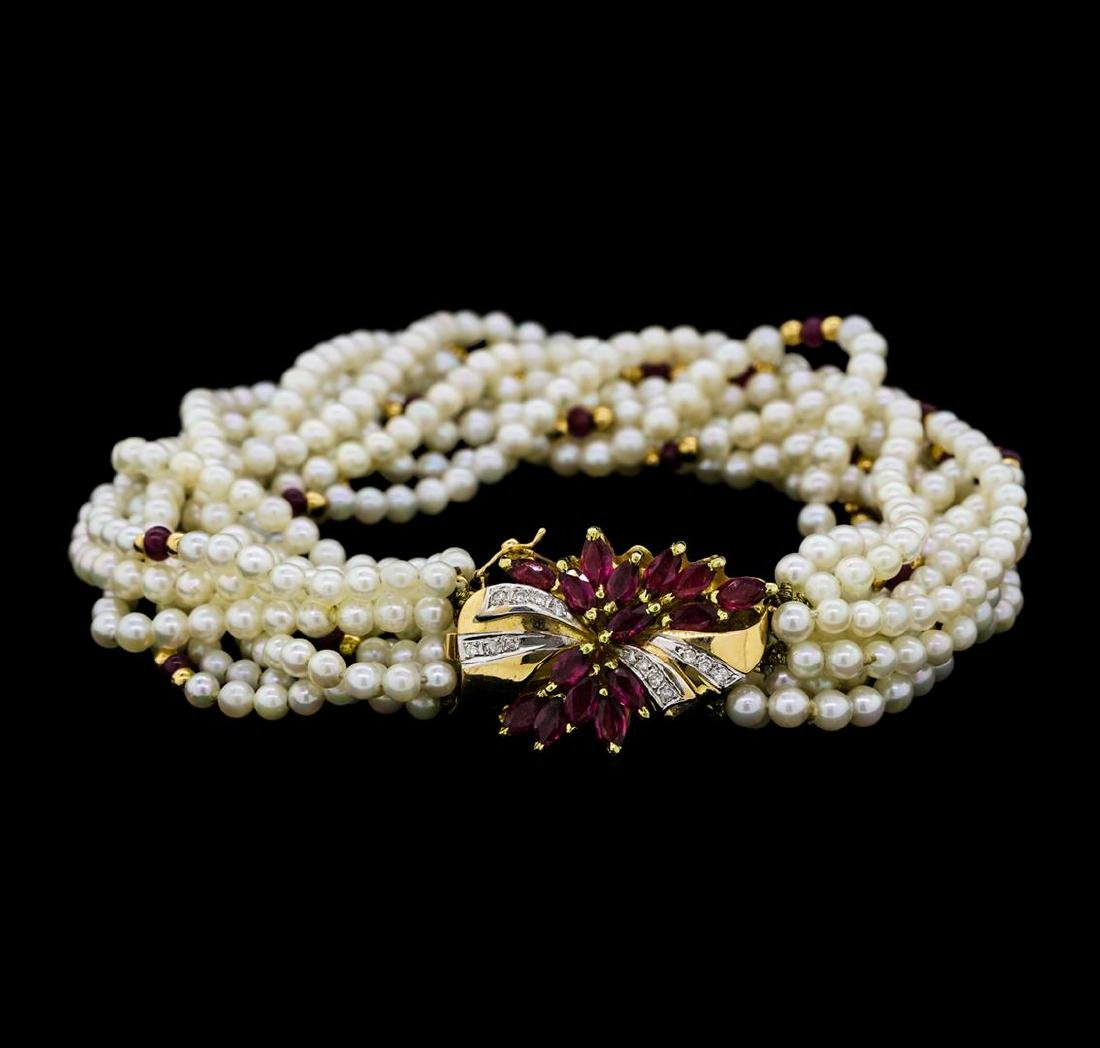 2.50 ctw Ruby, Diamond and Pearl Bracelet - 14KT Yellow