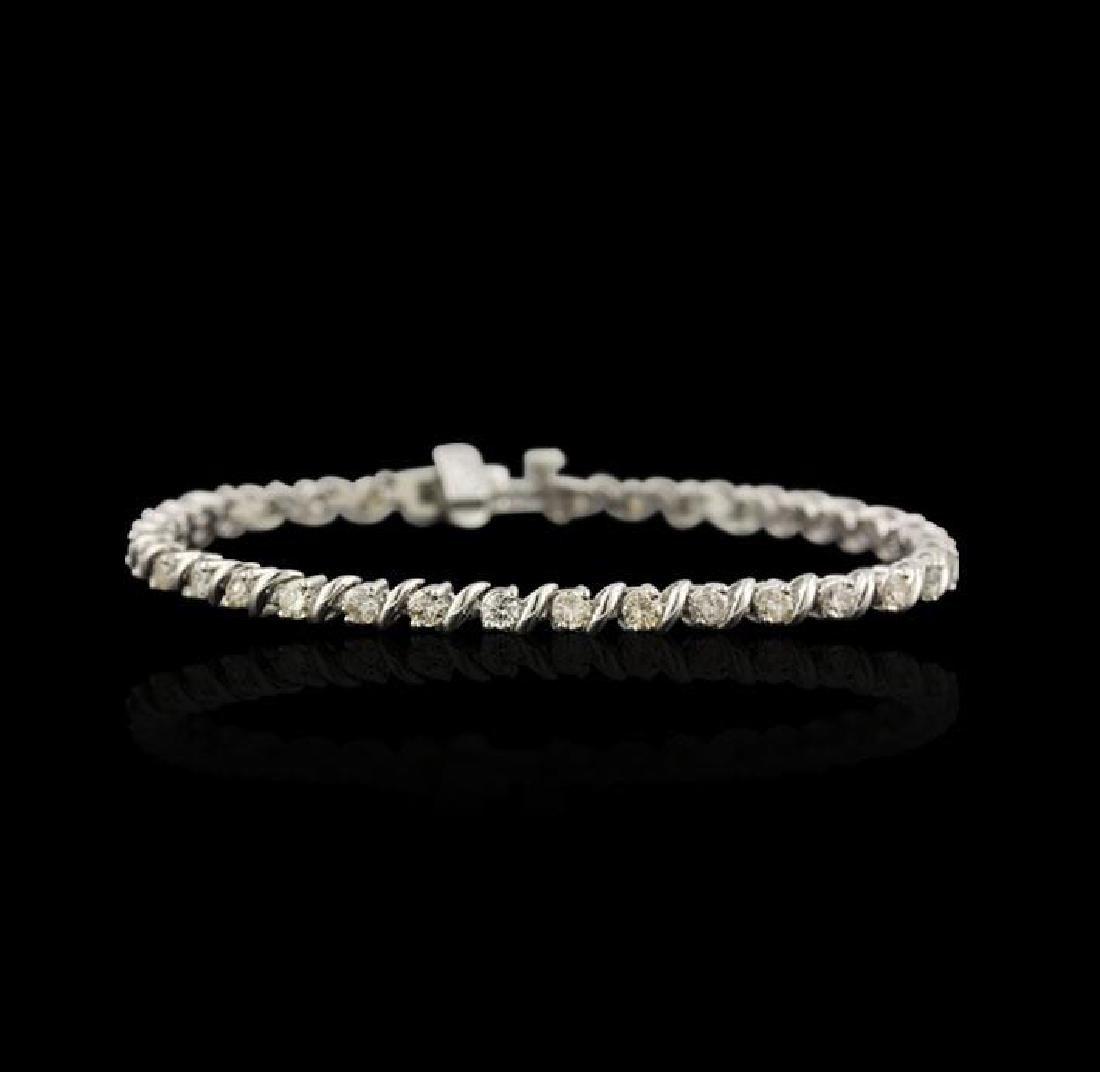 14KT White Gold 2.67 ctw Diamond Tennis Bracelet