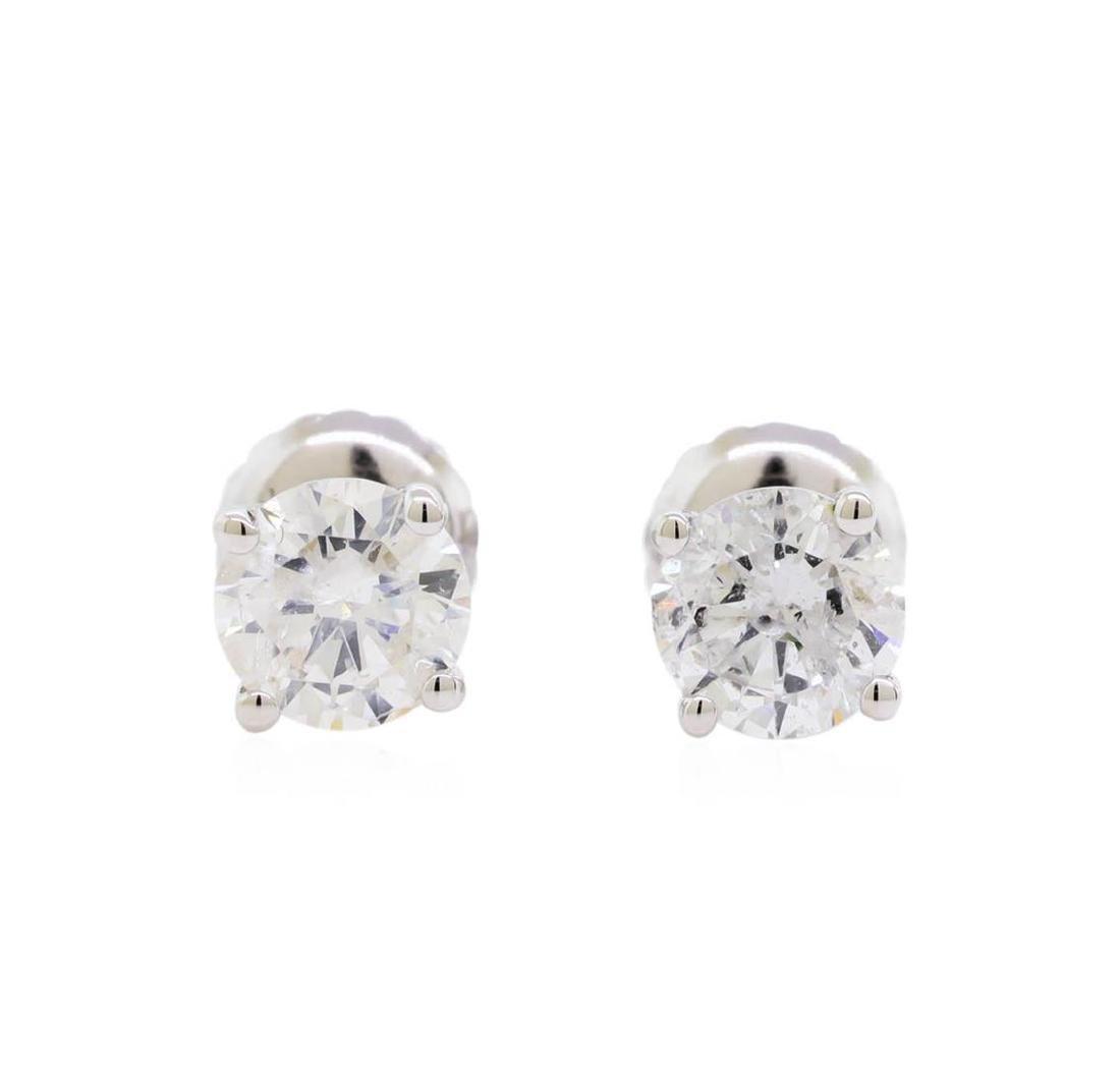 0.98 ctw Diamond Stud Earrings - 14KT White Gold