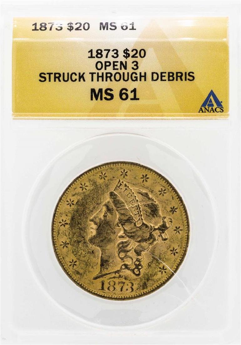 1873 $20 Liberty Head Double Eagle Gold Coin ANACS MS61