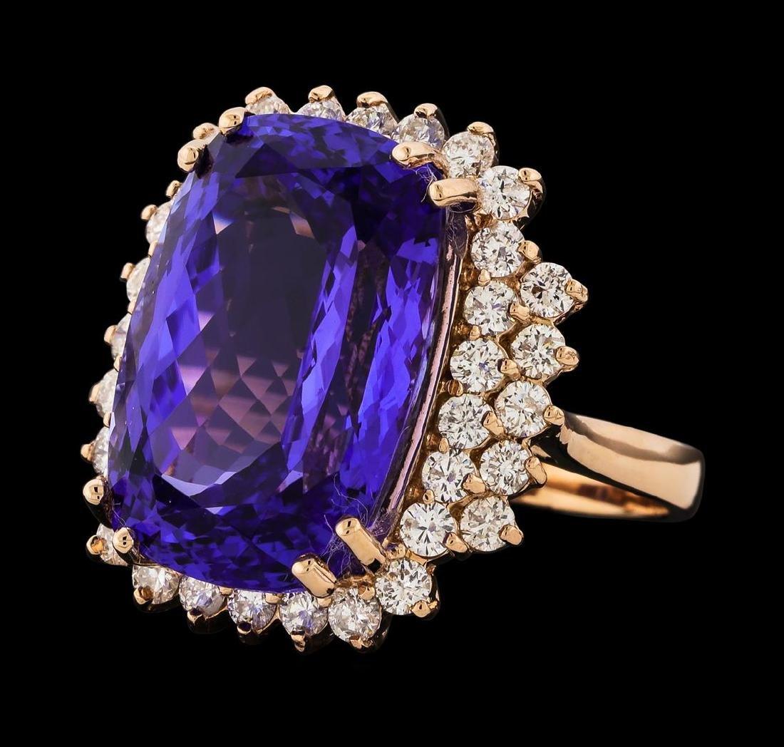 17.77 ctw Tanzanite and Diamond Ring - 14KT Rose Gold