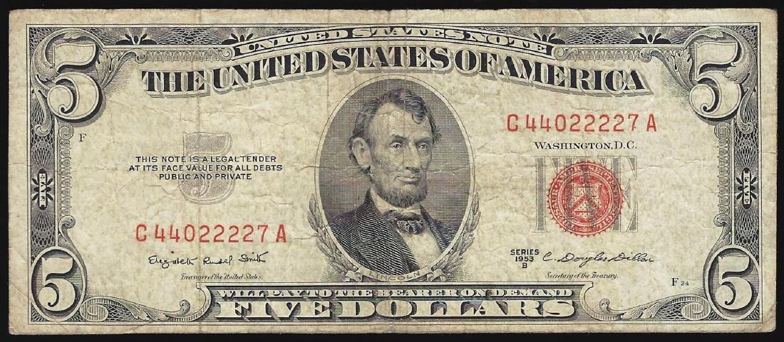 1953B $5 Legal Tender Note Fancy Serial Number