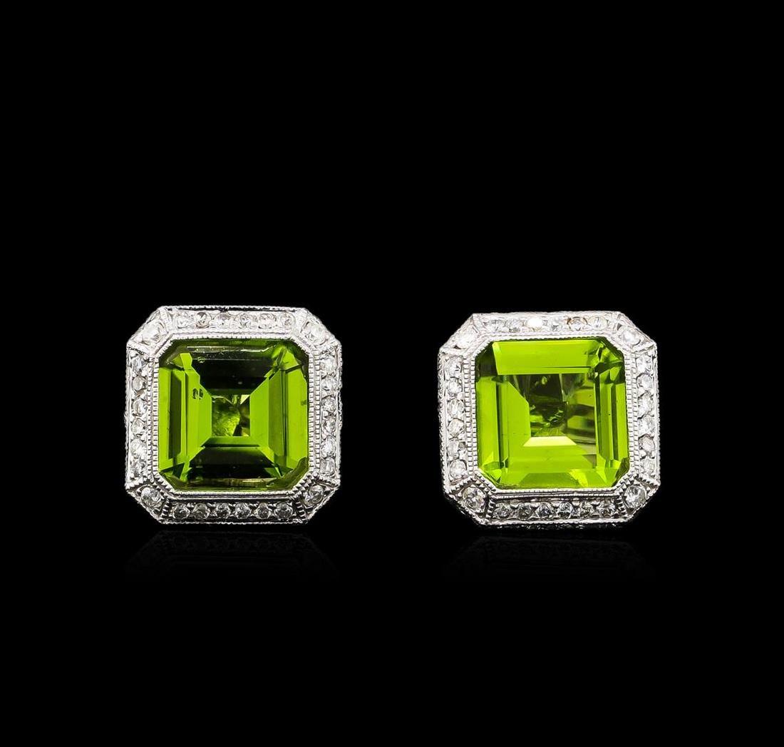 6.67 ctw Peridot and Diamond Earrings - 18KT White Gold