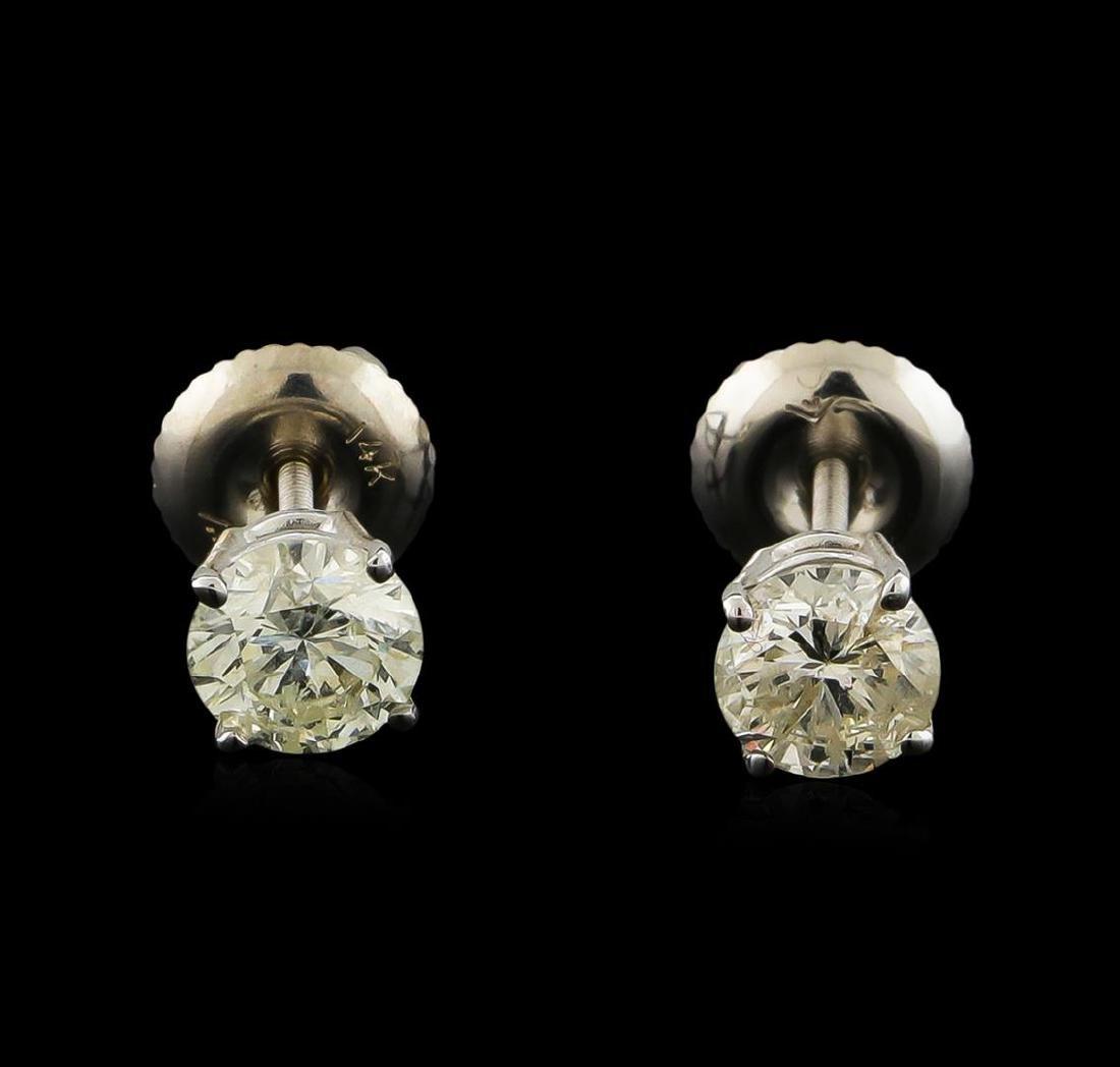 1.10 ctw Diamond Solitaire Earrings - 14KT White Gold