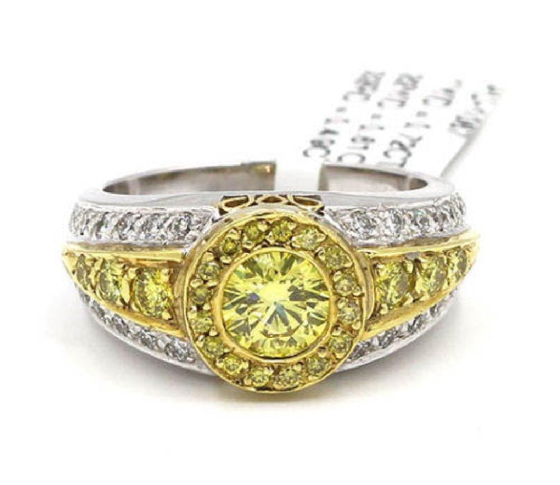 1.82 ctw Yellow and White Diamond Ring - 18KT Yellow