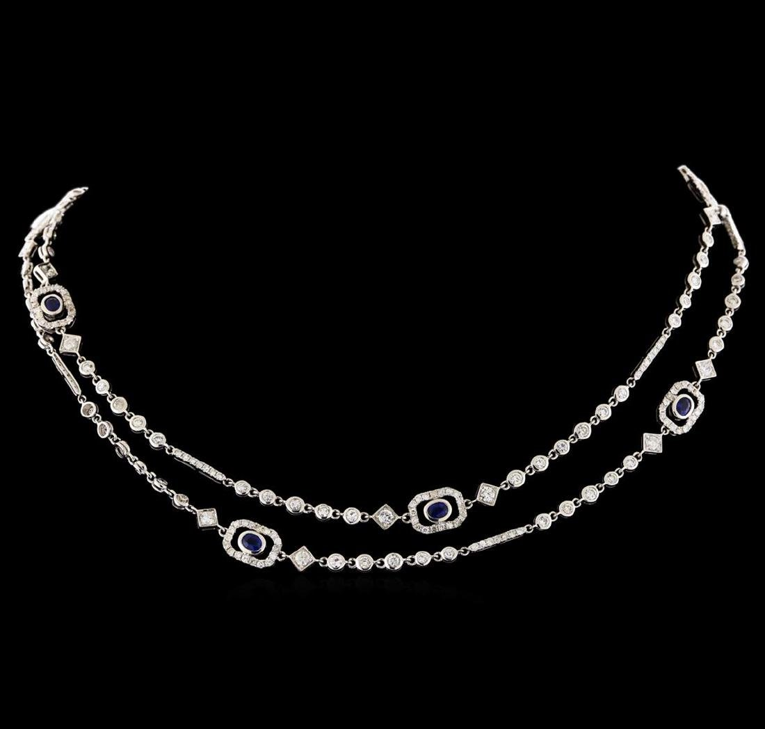 2.08 ctw Sapphire and Diamond Necklace - 18KT White