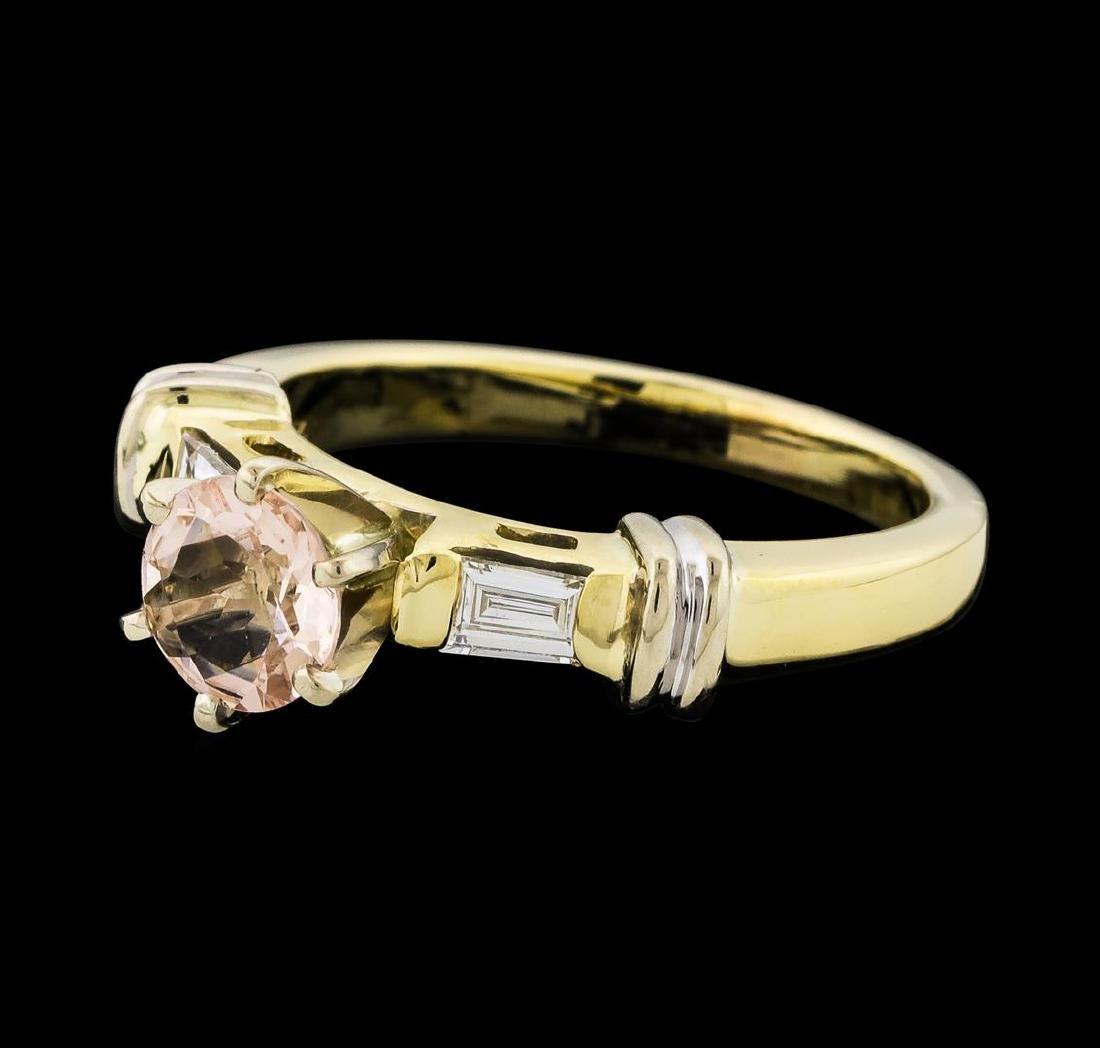 0.63 ctw Morganite and Diamond Ring - 14KT Yellow Gold