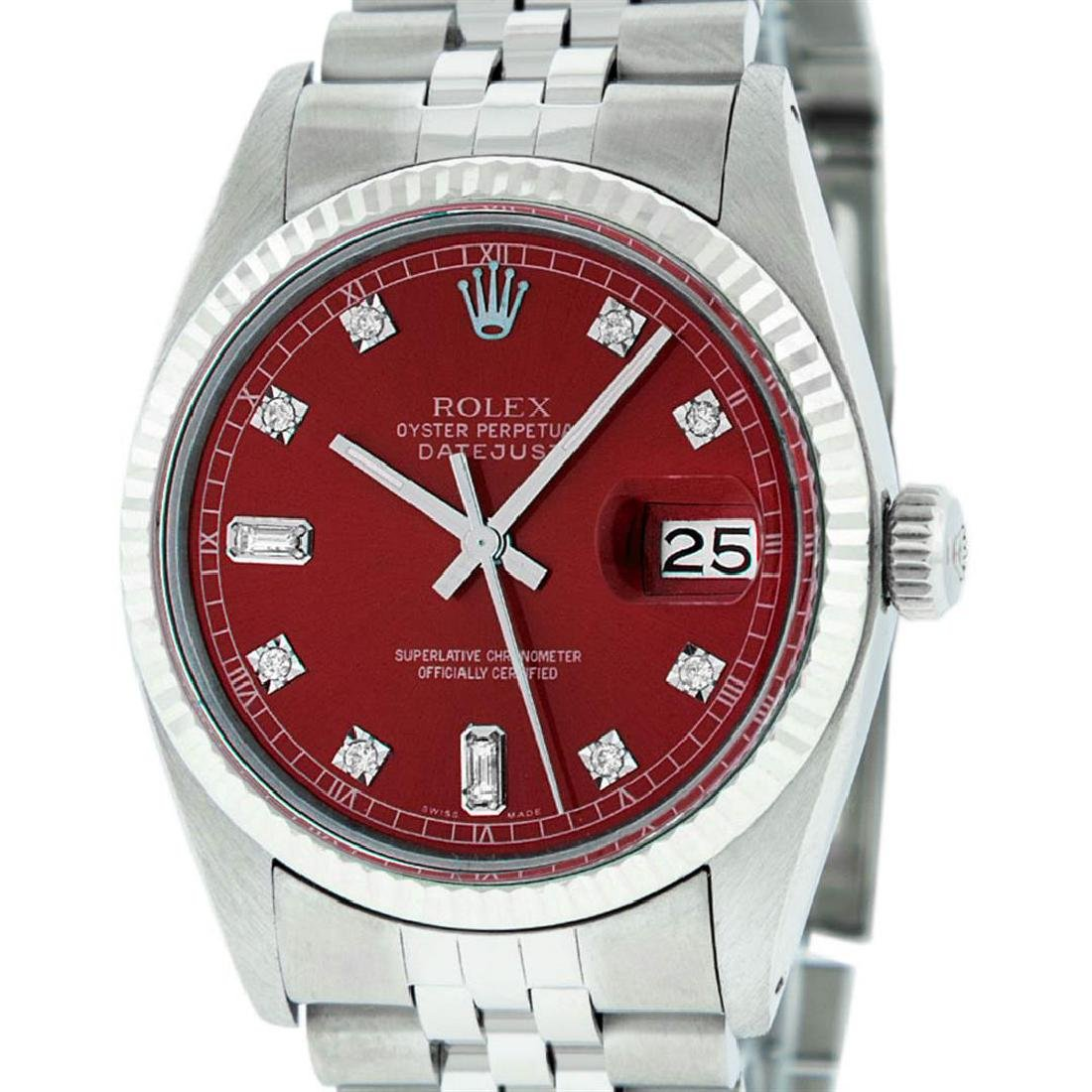 Mens Rolex Stainless Steel Red Diamond And White Gold