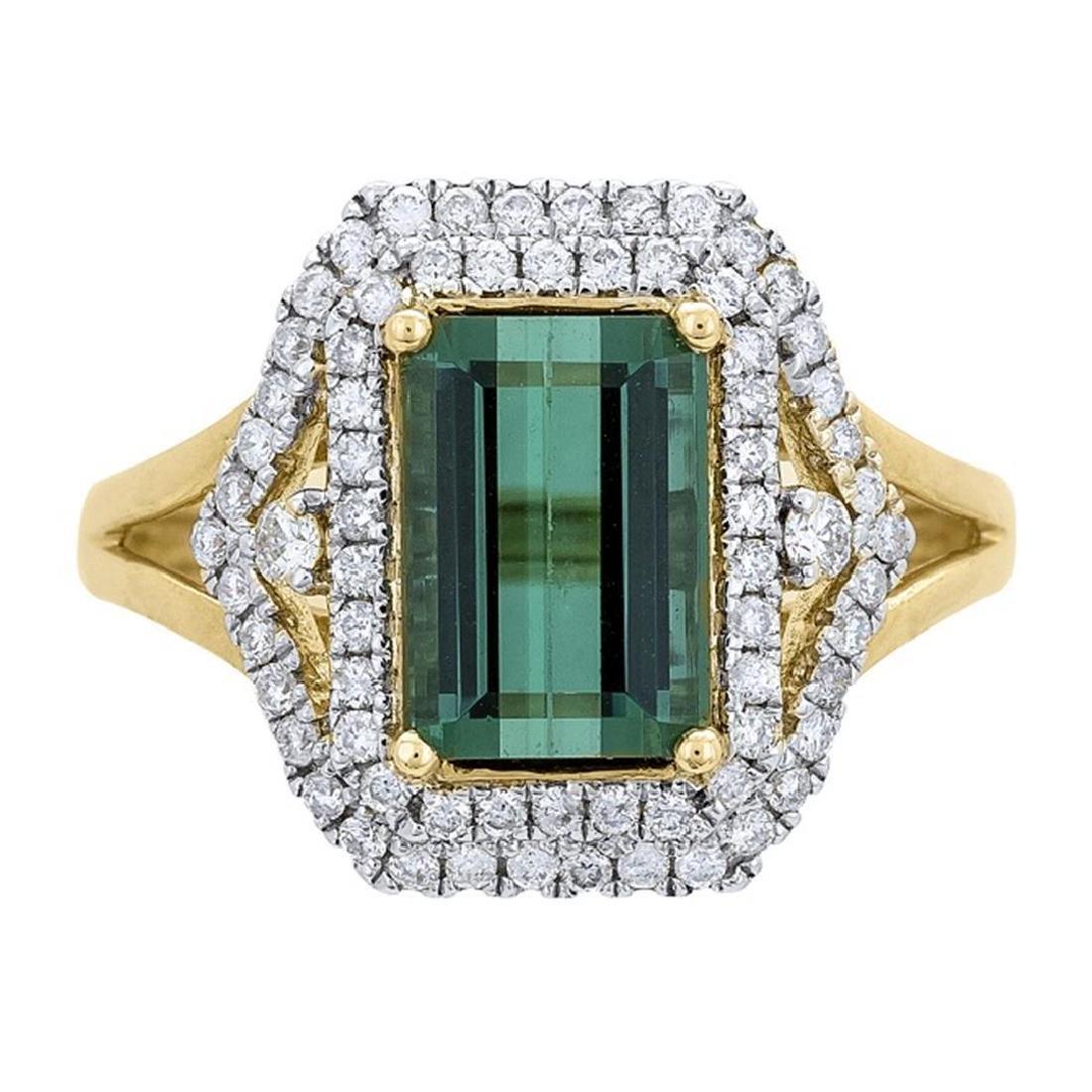 2.99 ctw Tourmaline and Diamond Ring - 14KT Yellow Gold