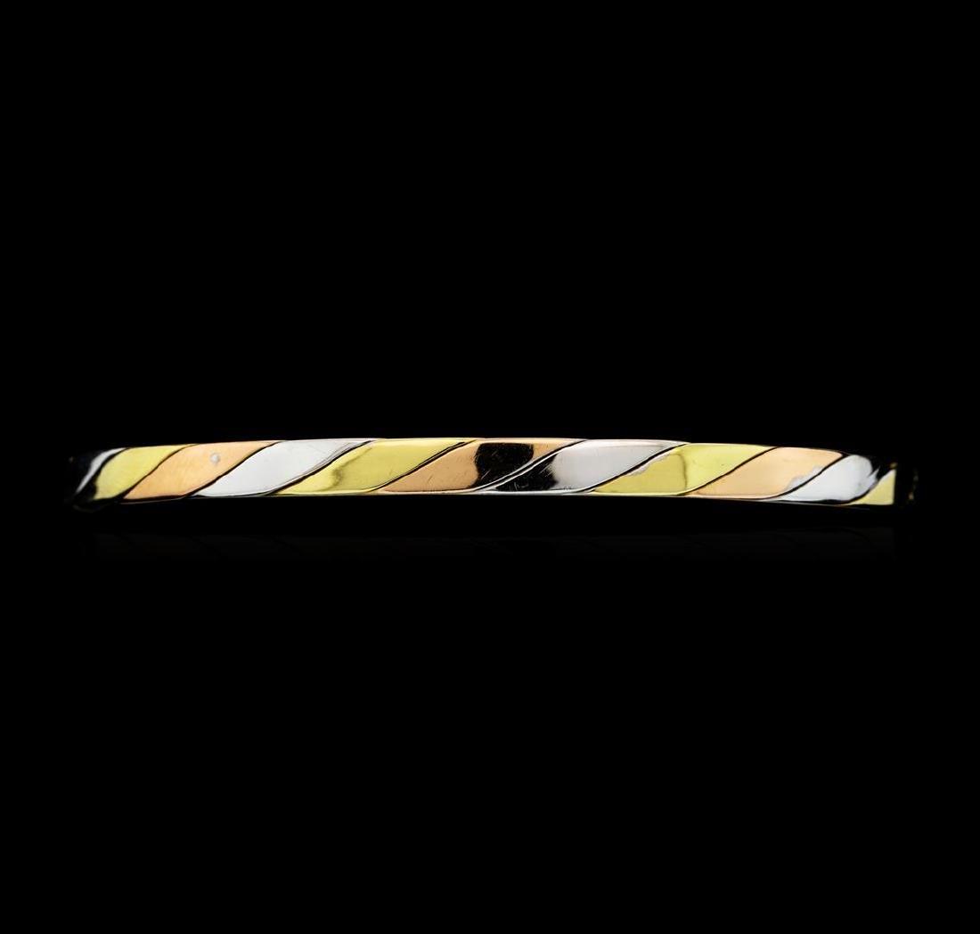 14KT Tri Color Gold Twisted Metal Bangle Bracelet