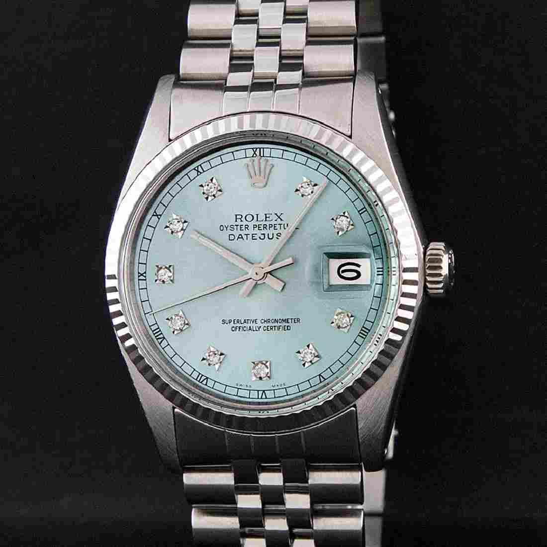 Rolex Mens Stainless Steel Ice Blue Diamond Quickset