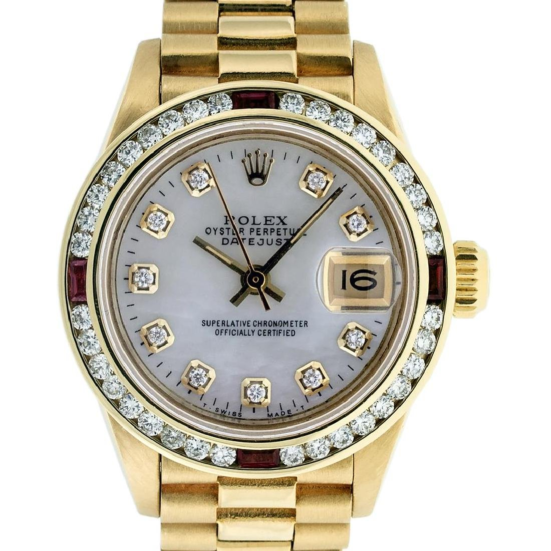 Rolex 18KT Gold President 1.00 ctw Diamond and Ruby