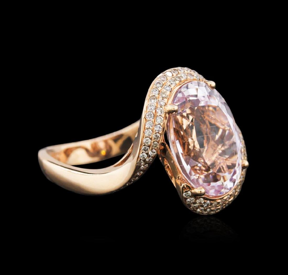 14KT Rose Gold 7.41 ctw Kunzite and Diamond Ring