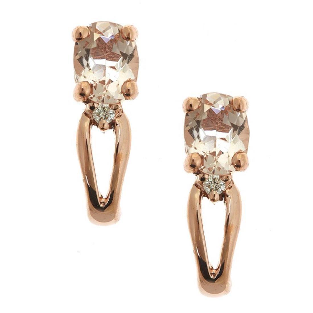 0.66 ctw Morganite and Diamond Earrings - 14KT Rose
