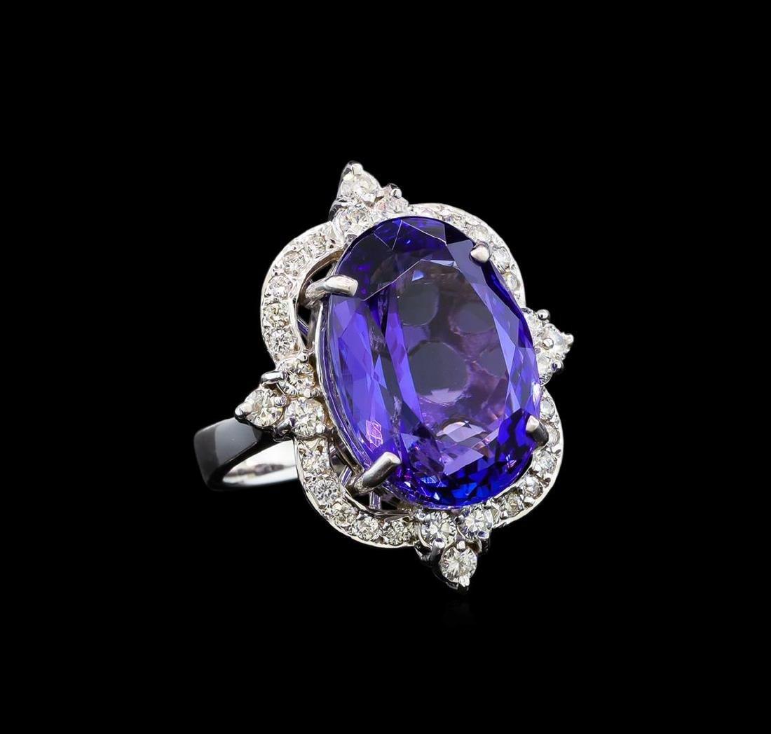 GIA Cert 16.34 ctw Tanzanite and Diamond Ring - 14KT