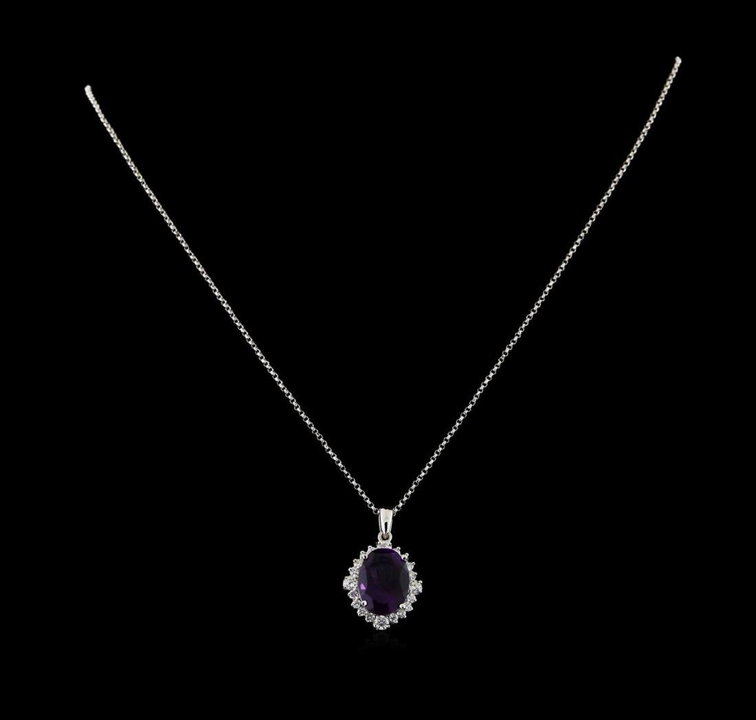 4.46 ctw Amethyst and Diamond Pendant With Chain - 14KT
