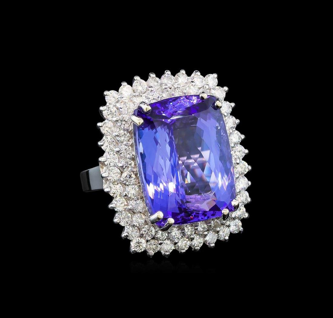 GIA Cert 19.22 ctw Tanzanite and Diamond Ring - 14KT