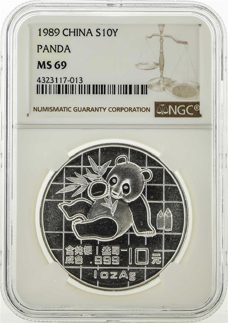 1989 China 10 Yuan Silver Panda Coin NGC MS69