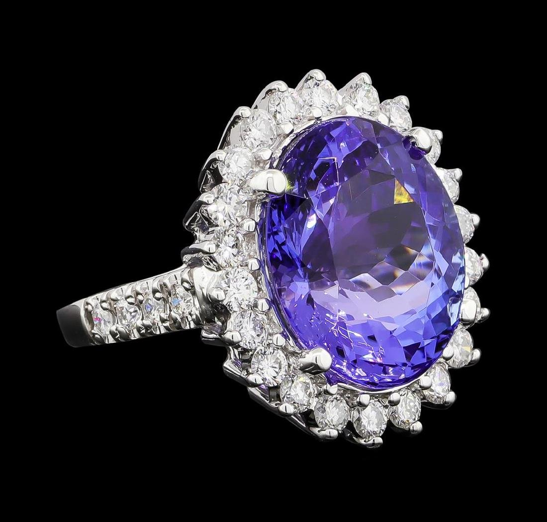 GIA Cert 11.78 ctw Tanzanite and Diamond Ring - 14KT