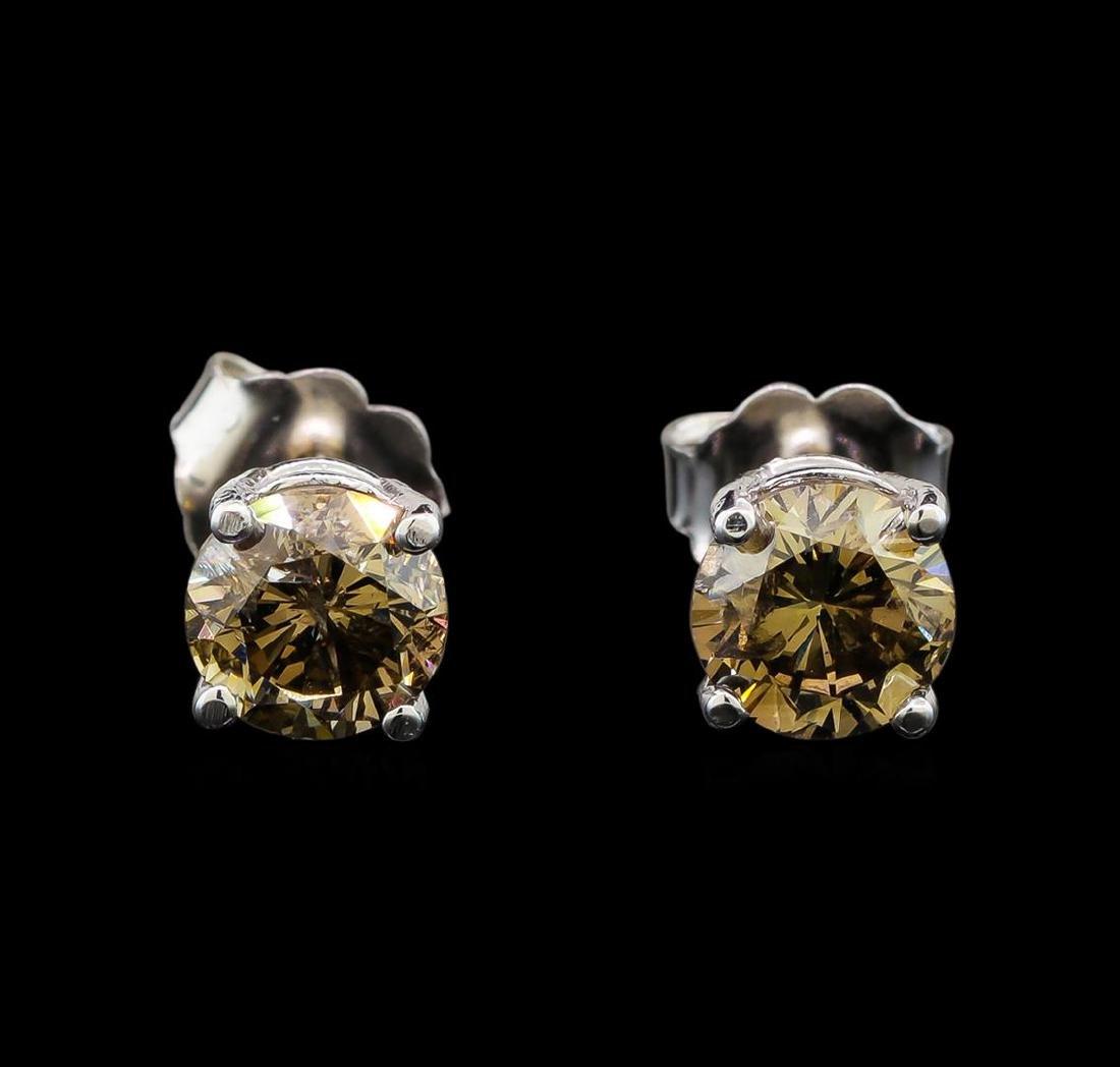14KT White Gold 1.22 ctw Fancy Brown Diamond Stud