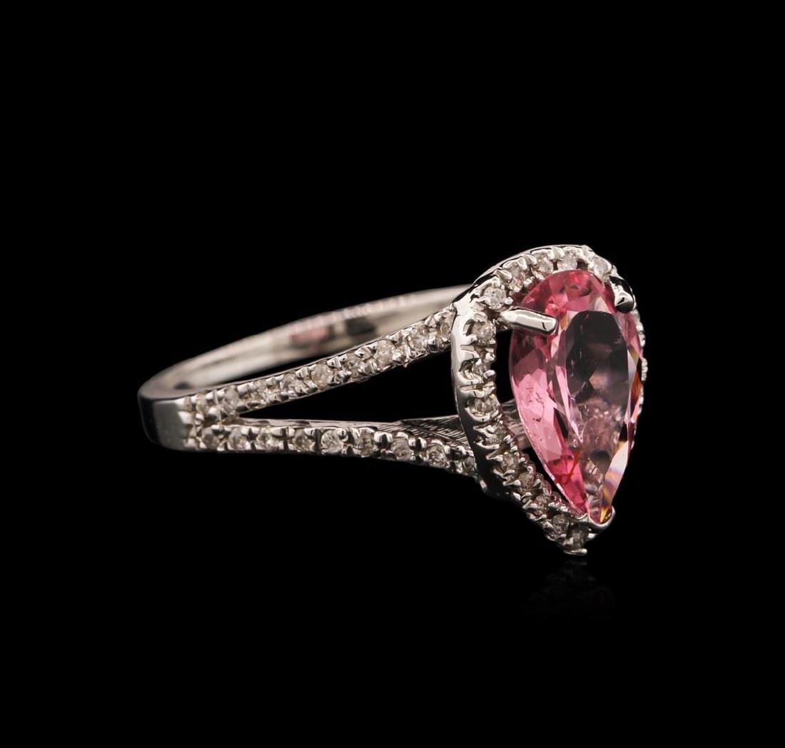1.45 ctw Pink Tourmaline and Diamond Ring - 14KT White