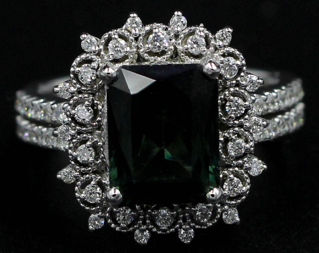 3.35 ctw Green Tourmaline and Diamond Ring - 14KT White