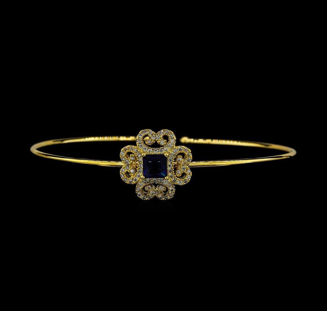 Vintage CZ Open Bangle Bracelet - Gold Plated