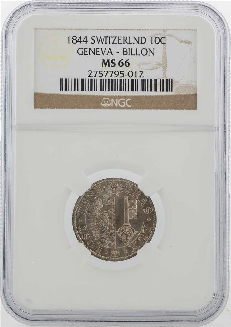1844 Switzerland 10C Geneva Billon Coin NGC MS66