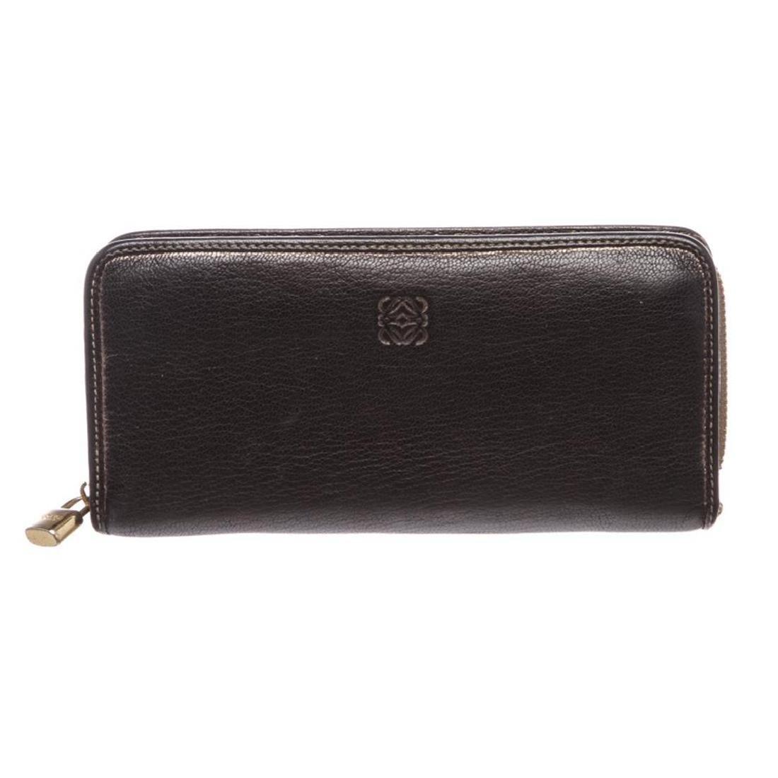 Loewe Black Leather Long Zip Wallet