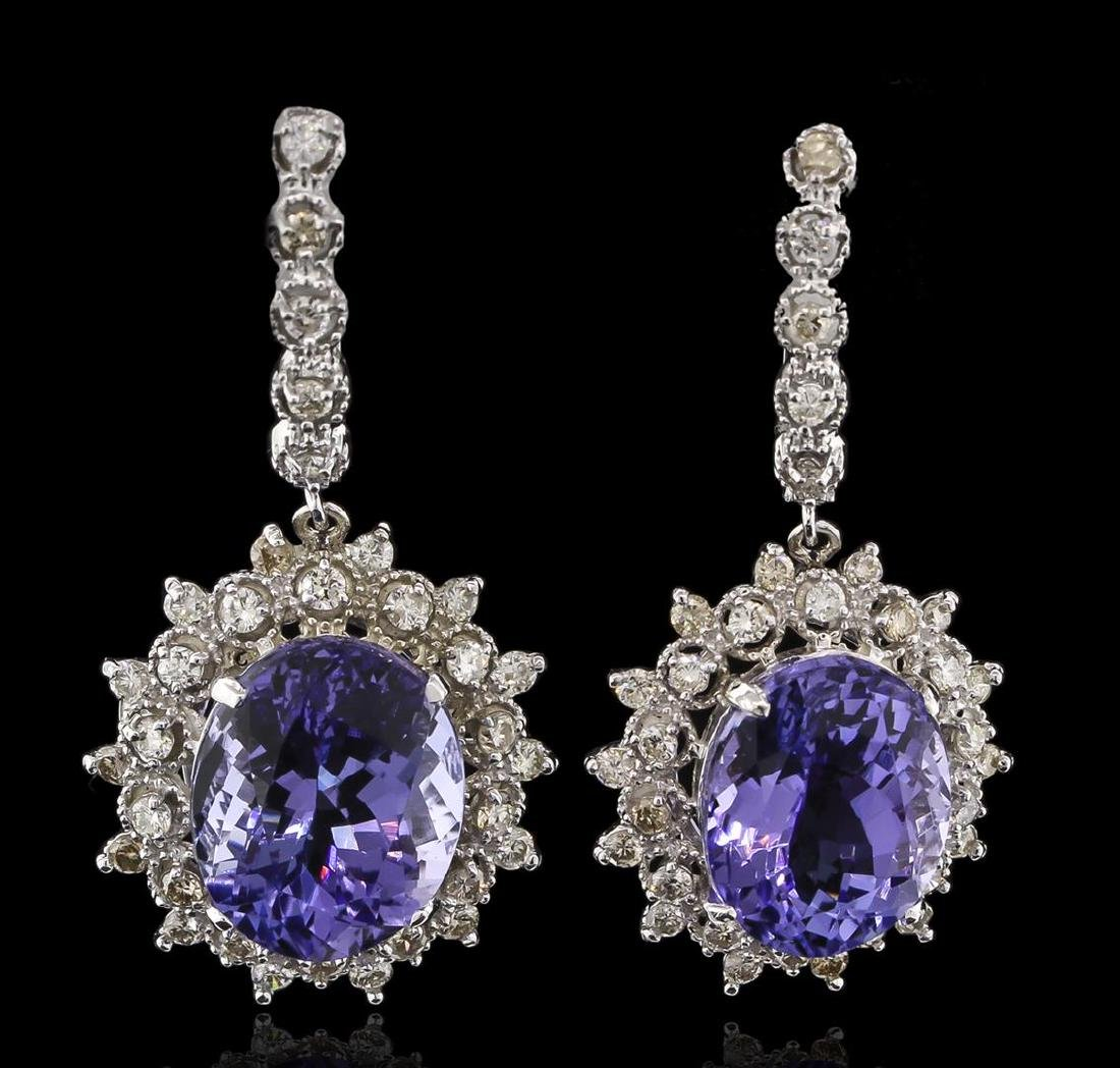 14.78 ctw Tanzanite and Diamond Earrings - 14KT White