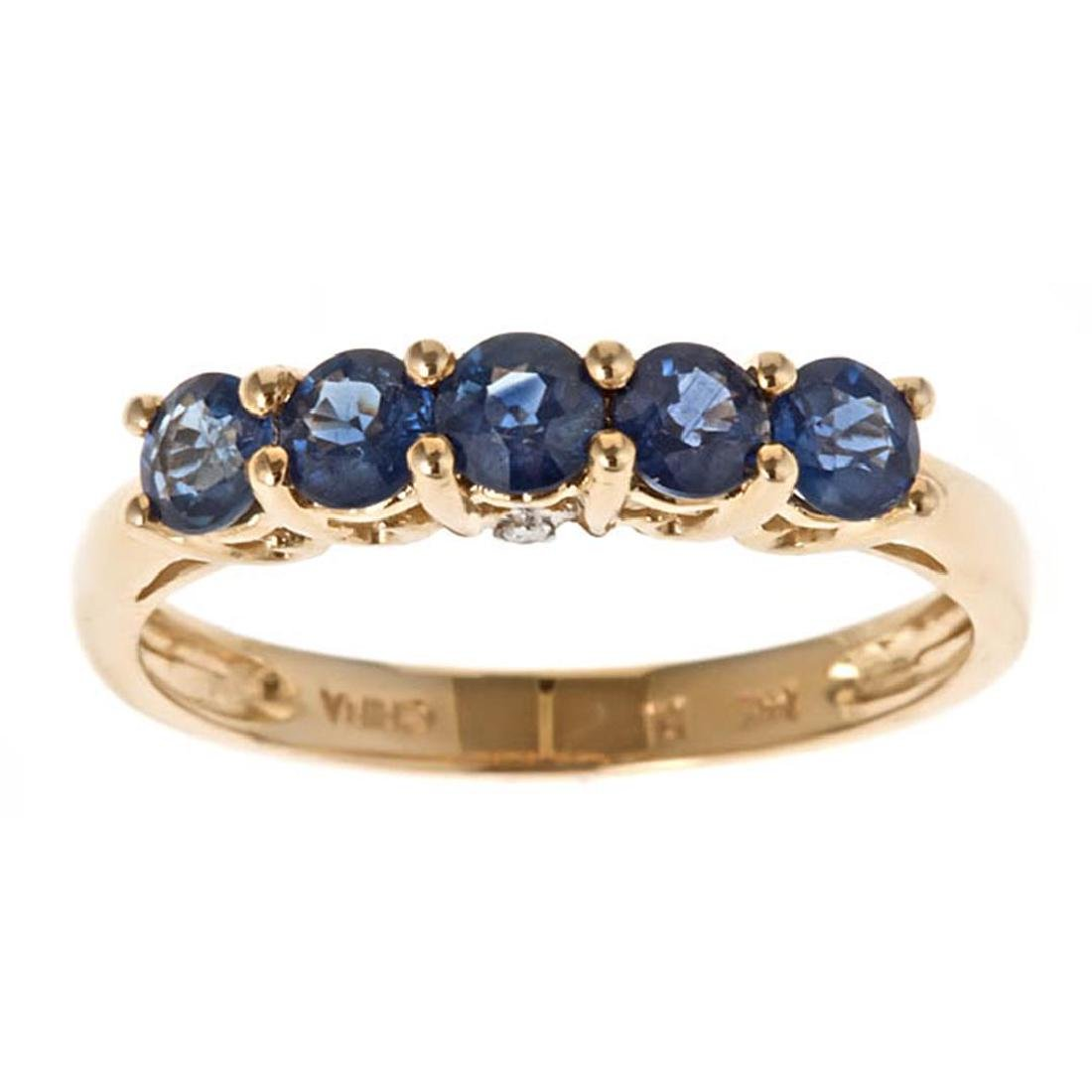 1.04 ctw Sapphire and Diamond Ring - 14KT Yellow Gold