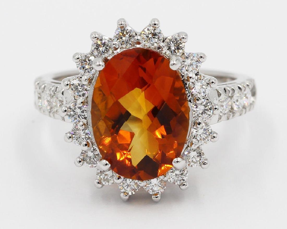 4.25 Carat Oval Cut Madeira Citrine Diamond Engagement