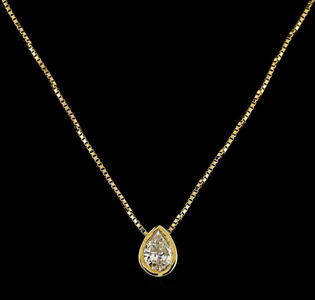 14KT Yellow Gold 0.45 ctw Diamond Pendant with Chain