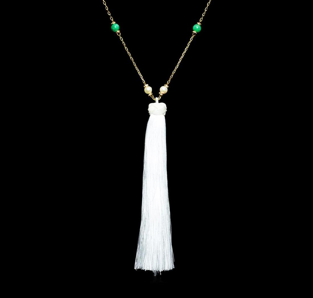 Jade and Pearl Necklace - Gold Plated