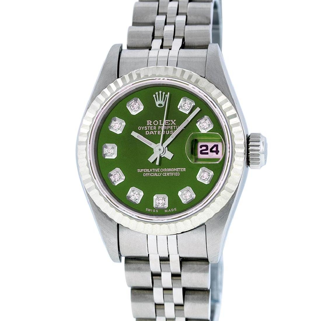 Rolex Stainless Steel Diamond Quickset DateJust Ladies
