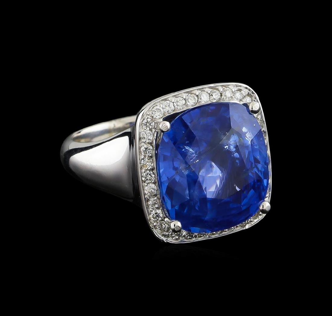 GIA Cert 13.93 ctw Blue Sapphire and Diamond Ring -