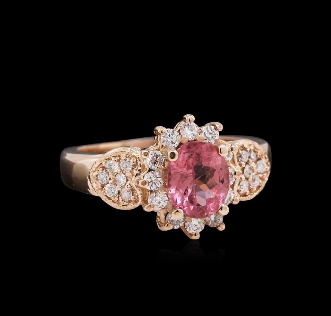 1.15 ctw Pink Tourmaline and Diamond Ring - 14KT Rose