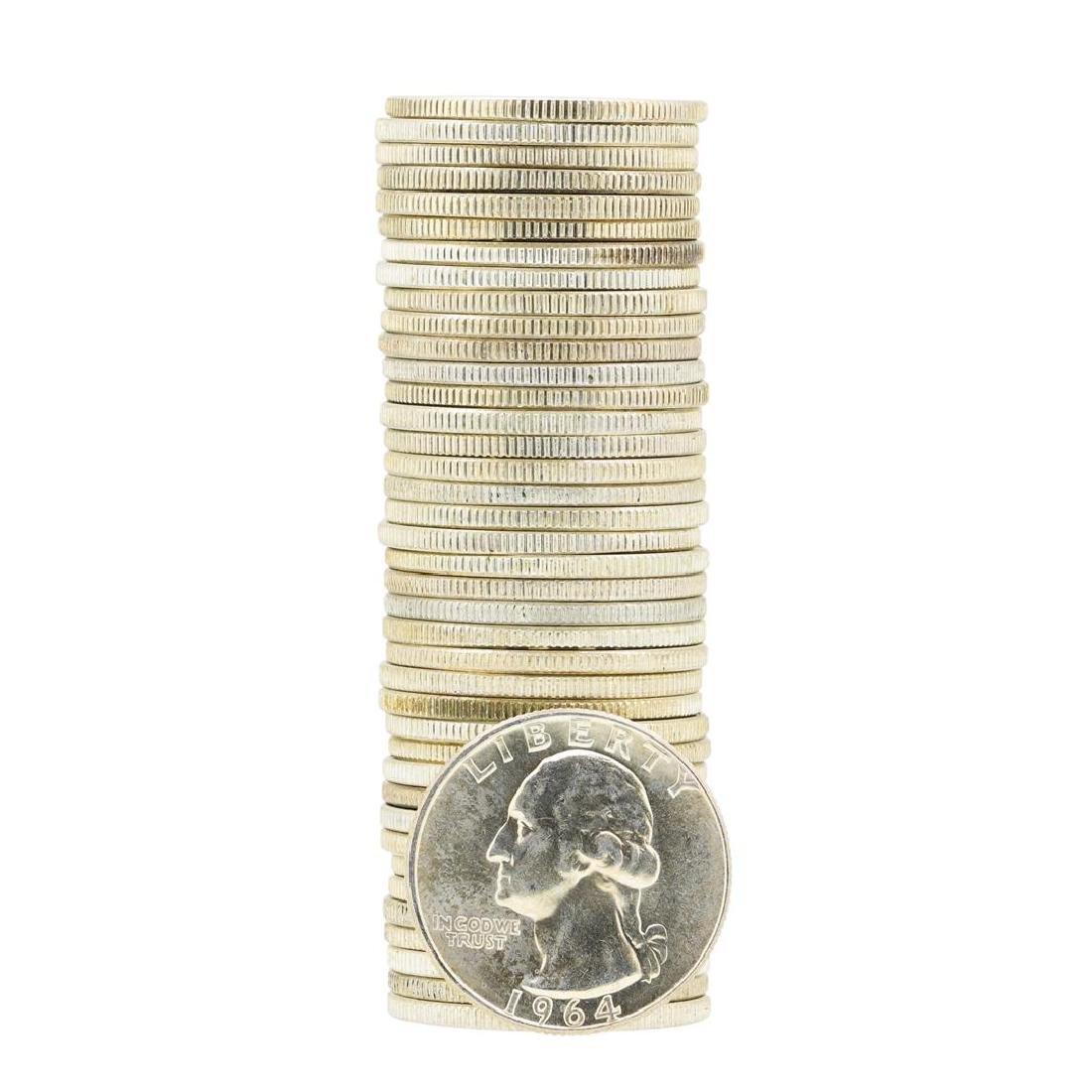 Tube of 40 1964D Washington Quarter Dollars