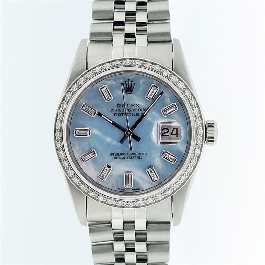 Rolex Stainless Steel Blue MOP Diamond DateJust Men's