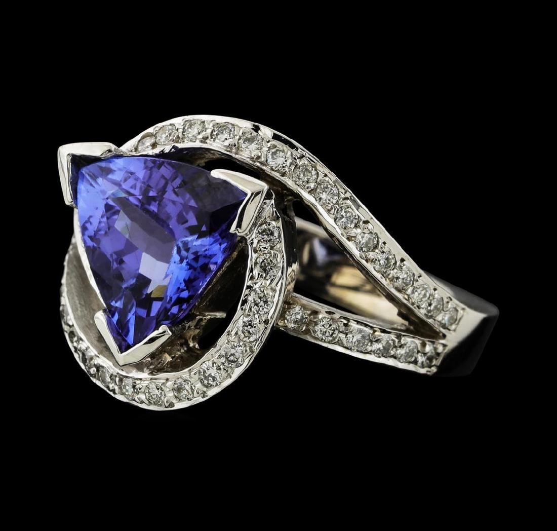 4.10 ctw Tanzanite and Diamond Ring - 14KT White Gold