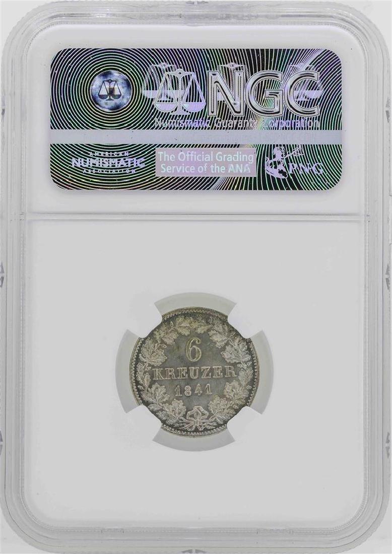 1841 Germany Baden 6 Kreuzer Coin NGC MS65 - 2