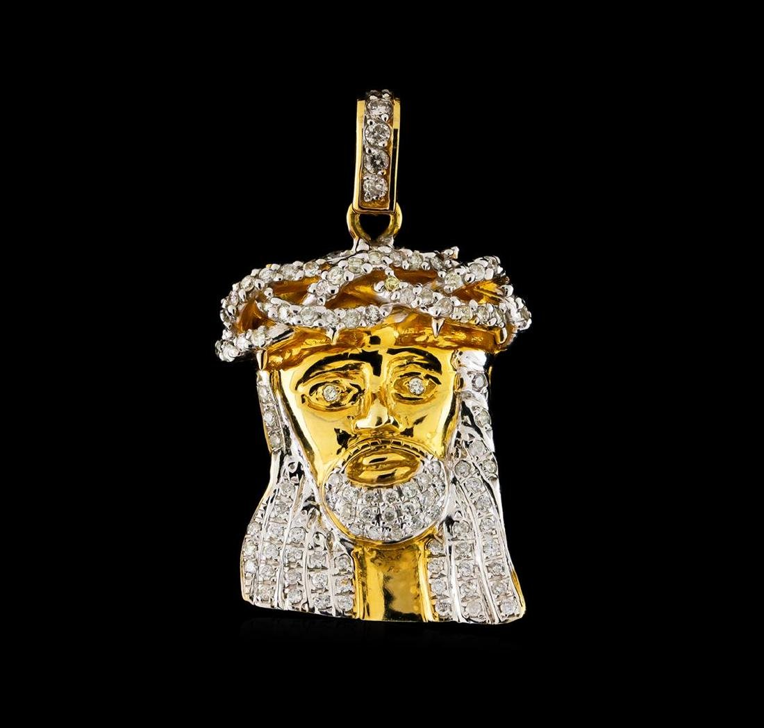 1.10 ctw Diamond Jesus Pendant - 10KT Yellow Gold