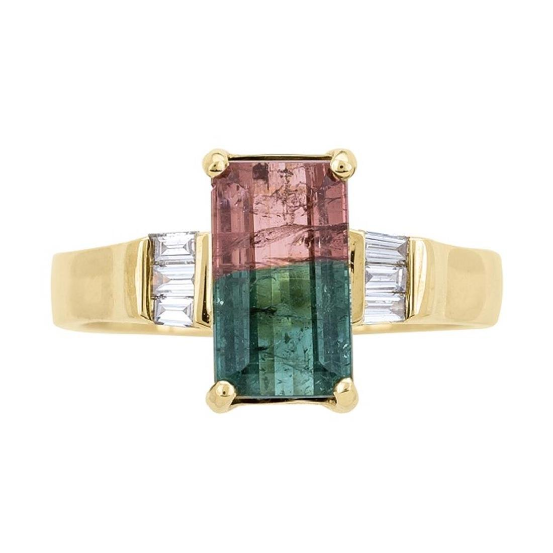2.27 ctw Bi-Color Tourmaline and Diamond Ring - 14KT