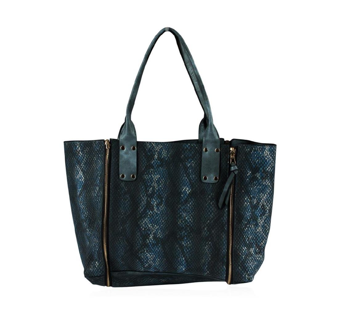 Charcoal Blue Oversized Handbag