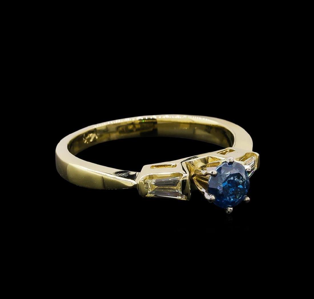 0.67 ctw Blue Diamond Ring - 14KT Yellow Gold